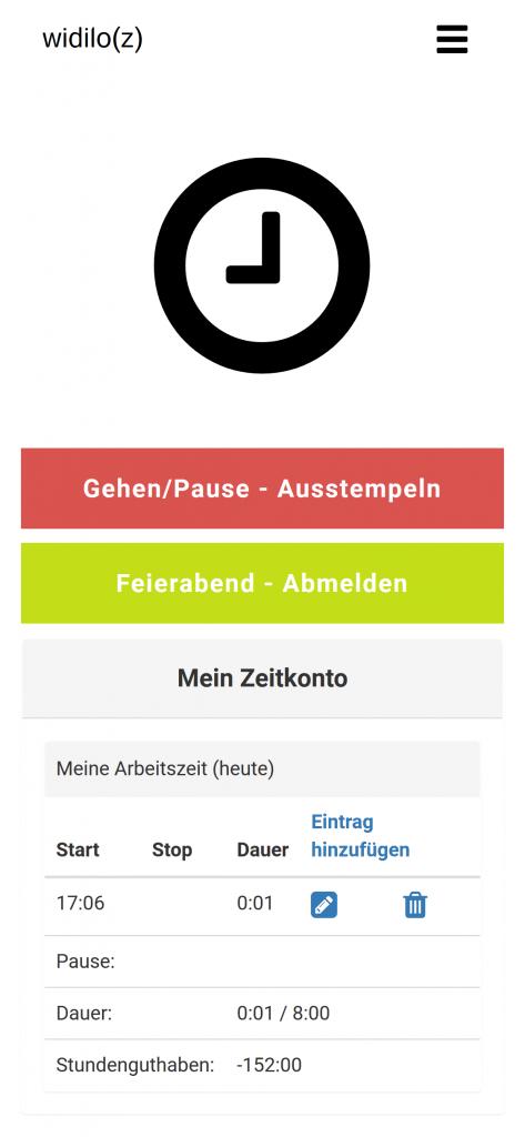 widilo(z) - Zeiterfassungssystem: Gehen, Pause, Ausstempeln, Feierabend, Zeitkonto