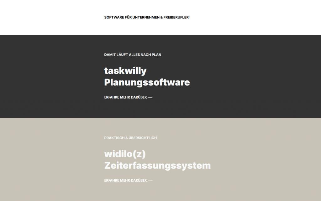 widilo Planungssoftware taskwilly, widilo Zeiterfassungssystem widilo(z)